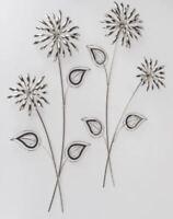 1 Stück 670618 Wanddeko 70cm Blumenzweig Silber aus glänzendem Metall