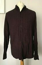TOPMAN Shirt Large BURGUNDY / Maroon / Plum | Brushed Cotton Mens Smart Casual
