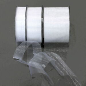 Organza Band White 45,7 Meter = 50 Yard Without Wire / 25mm