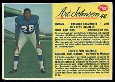 1963 POST CFL FOOTBALL #42 ART JOHNSON EX-NM TORONTO ARGONAUTS Michigan state