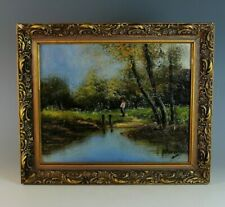 Vintage French Barbizon Style Landscape Painting