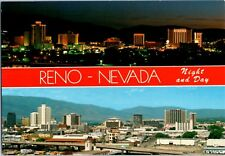 1980's Reno Horizon Day & Night Skyline Hotel Casino Vu Nevada Postcard Vintage