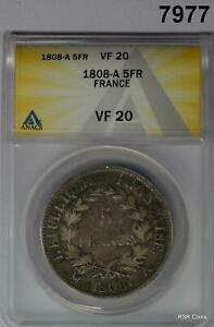1808 A FRANCE 5 FRANCS ANACS CERTIFIED VF20 #7977