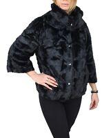 Pelliccia donna invernale nero manica 3/4 pellicciotto giacca ecologica