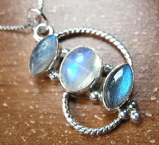 Rainbow Moonstone Labradorite Marquise 3-Stone 925 Sterling Silver Necklace New
