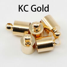 80 New Gold Bronze Silver Plated Over Clip Tip Cord Crimp Ends Bead Caps 8x7.5mm