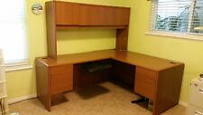 Desk, L shaped Hutch Hon adj keyboard tray file drawers cabinets-local  pickup
