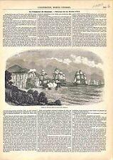 Bataille Navale Combat du Navire Romulus en Province de Courdouan GRAVURE 1848