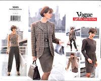 Vogue Wardrobe Jacket Dress Top Skirt Pants Sewing Pattern 1685 Uncut 8-10-12