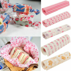 50X Food Wrapping Wax Paper Hambur Sandwich Bread Candy Wrap Paper Disposable