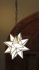 """Moravian 11.5""""   frosted glass star  silver color trim WITH canopy"""