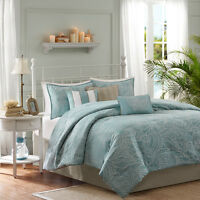 BEAUTIFUL 7PC BLUE GREY OCEAN BEACH SHORE NAUTICAL TAUPE SHELL COMFORTER SET NEW