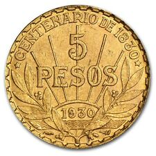 Uruguay 1930 5 Peso Gold Coin .2501 oz - AU or BU - SKU #14243