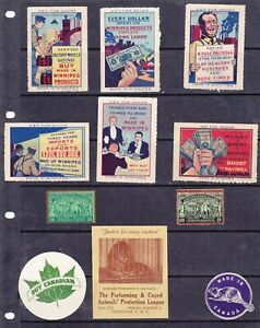 POSTER STAMPS, A COLLECTION OF 11 CANADA  ADVERTISING LABELS