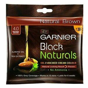4X Garnier Black Naturals Oil Enriched Cream Hair Colour- 4.0 NATURAL BROWN