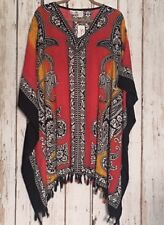 1X/2X/3X New Black Red White Dashiki Tribal Fringe Orange Top Beach Cover