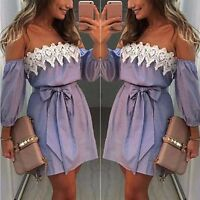 New Women Summer Lace Off Shoulder Party Evening Cocktail Beach Short Min Gift