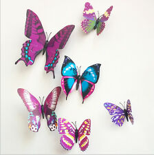 12PCS DIY 3D Butterfly Wall Sticker Decal Home Decor Decoration Art Room Purple
