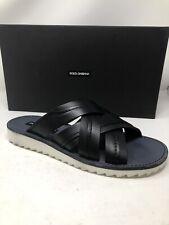 $550 New Dolce Gabbana Mens Black Shoes Sandals Slides Slippers Size 9.5 US 42.5