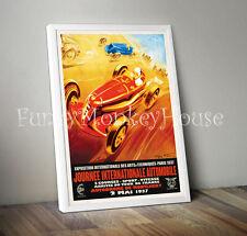 Vintage car poster racing motorsport automobile- A4 - Montlhery 1937