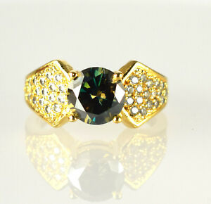 4.39 Ct  Green Diamond Solitaire Gold Finish Ring With Accents