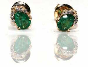 Handmade 14K Gold Earring for Christmas, Diamond and Emerald Earring.