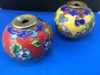 CLOISONNE CHINESE KNOBS X 2