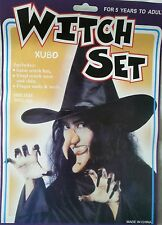 Halloween Witch Set Satin Witch Hat Nose Chin Finger Nails And Teeth Dress Up