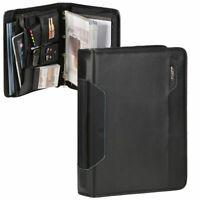 Alassio Business Konferenzmappe A4 Schreibmappe schwarz mit Griff und Tabletfach