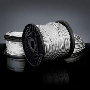 8mm CÂBLES D'ACIER GALVANISÉ filin métallique corde voile zingué 1m - 100m