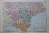 1895 Mappa Devonshire Sud Foglio Totness Dartmouth Tavistock Exeter Tiverton