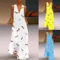 ZANZEA Women A-Line Flare Sleeveless Sundress Dragonfly Print Long Maxi Dress