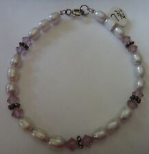 "7.25"" Sterling Silver 7x5mm Purple Fresh Water Pearl 5mm Crystal Charm Bracelet"