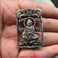 China Decorated Miao Silver Carving Lifelike Kwanyin Buddha Rare Lucky Pendant
