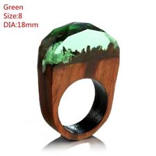 Hot Handmade Wood Resin Ring With Magnificent Tiny Fantasy Secret Landscape Gift