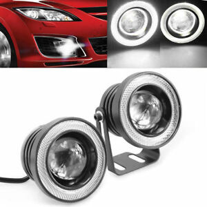 2x 3.5'' White LED Halo Ring Angel Eyes Driving Projector Fog Light COB DRL Lamp