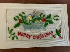 ANTIQUE FLORAL EMBROIDERED POSTCARD MERRY CHRISTMAS