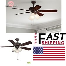 "Hapmton Bay Glendale Ceiling Fan Oil Rubbed Bronze Indoor LED w/Light Kit 42"""