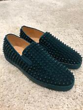 NIB Christian Louboutin Roller Boat Lagune Blue Spike Suede Sneaker Flats 46