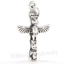 3D TOTEM POLE Pacific Northwest Alaska Native Charm Pendant 925 STERLING SILVER