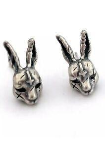 S925 silver earrings Demon bunny rabbit red eye earrings stud GOTH emo pagan