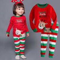 "Vaenait Baby Toddler Kids Clothes Christmas Pajama Set ""Little Roudolph"" 12M-7T"