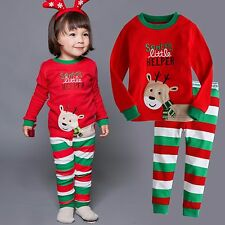 "Vaenait Baby Toddler Kids Clothes Christmas Pajama Set ""Little Roudolph"" 12M-7T"