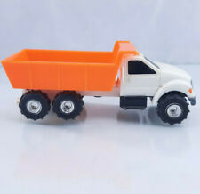 Vintage Ertl White Mining Dump Truck w/ Orange Dump Bed Diecast Double Axel
