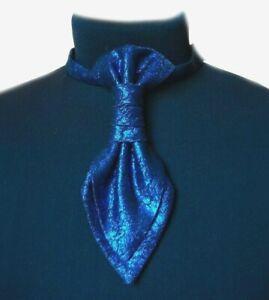 Pre-tied men's ascot Silk cravat Blue formal cravat for men Wedding ascot cravat