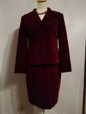 """TAILLEUR femme """"1-2-3"""" T38/40 blazer/jupe/velours rouge/chic COMME Neuf!"""