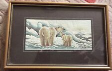 Cash's Woven silk picture, framed & boxed, vintage – Polar bear & cub