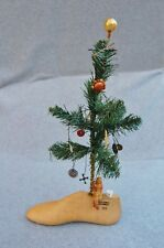 Christmas Tree on Wood Shoe Form Mold Vintage Parts Toys Buttons Crackerjack 16""