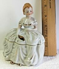 "Vintage gold trimmed 5"" Dresser Doll Powder Jar ~ pretty red haired lady in EUC"