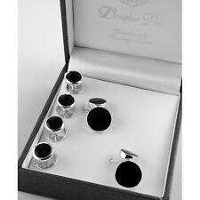 Sterling silver onyx shirt stud & cufflink set